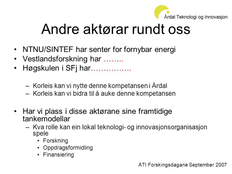 Andre aktørar rundt oss •NTNU/SINTEF har senter for fornybar energi •Vestlandsforskning har ……..