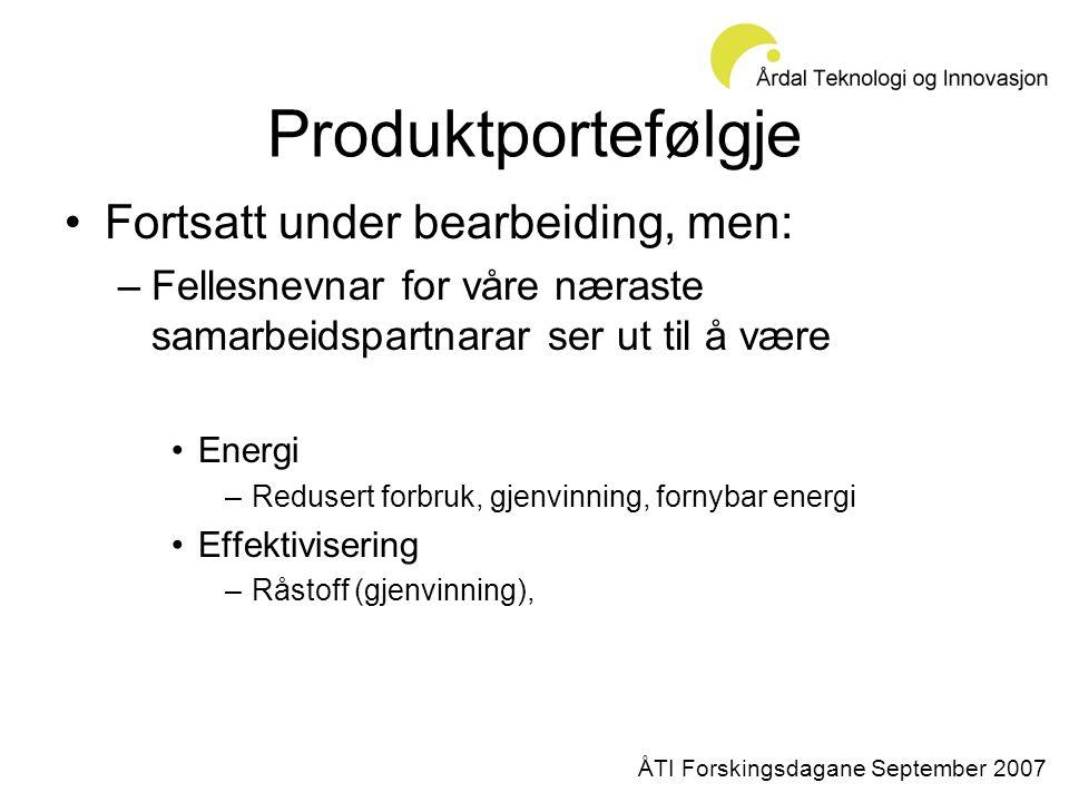 Produktportefølgje •Fortsatt under bearbeiding, men: –Fellesnevnar for våre næraste samarbeidspartnarar ser ut til å være •Energi –Redusert forbruk, gjenvinning, fornybar energi •Effektivisering –Råstoff (gjenvinning), ÅTI Forskingsdagane September 2007
