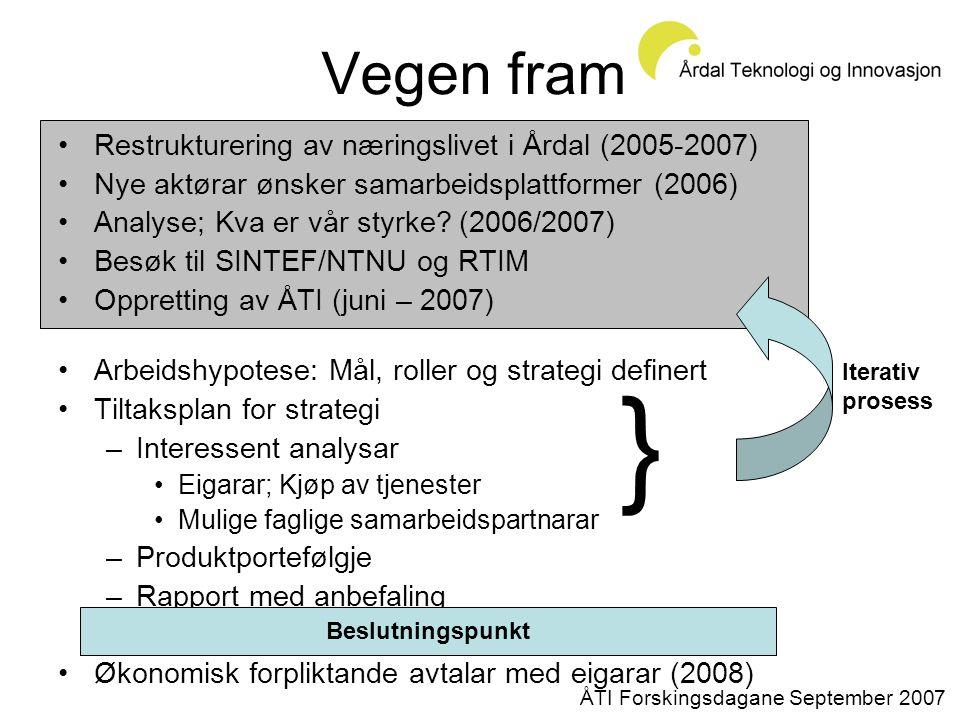 Vegen fram •Restrukturering av næringslivet i Årdal (2005-2007) •Nye aktørar ønsker samarbeidsplattformer (2006) •Analyse; Kva er vår styrke.