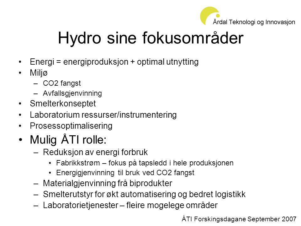 Hydro sine fokusområder •Energi = energiproduksjon + optimal utnytting •Miljø –CO2 fangst –Avfallsgjenvinning •Smelterkonseptet •Laboratorium ressurser/instrumentering •Prosessoptimalisering •Mulig ÅTI rolle: –Reduksjon av energi forbruk •Fabrikkstrøm – fokus på tapsledd i hele produksjonen •Energigjenvinning til bruk ved CO2 fangst –Materialgjenvinning frå biprodukter –Smelterutstyr for økt automatisering og bedret logistikk –Laboratorietjenester – fleire mogelege områder ÅTI Forskingsdagane September 2007