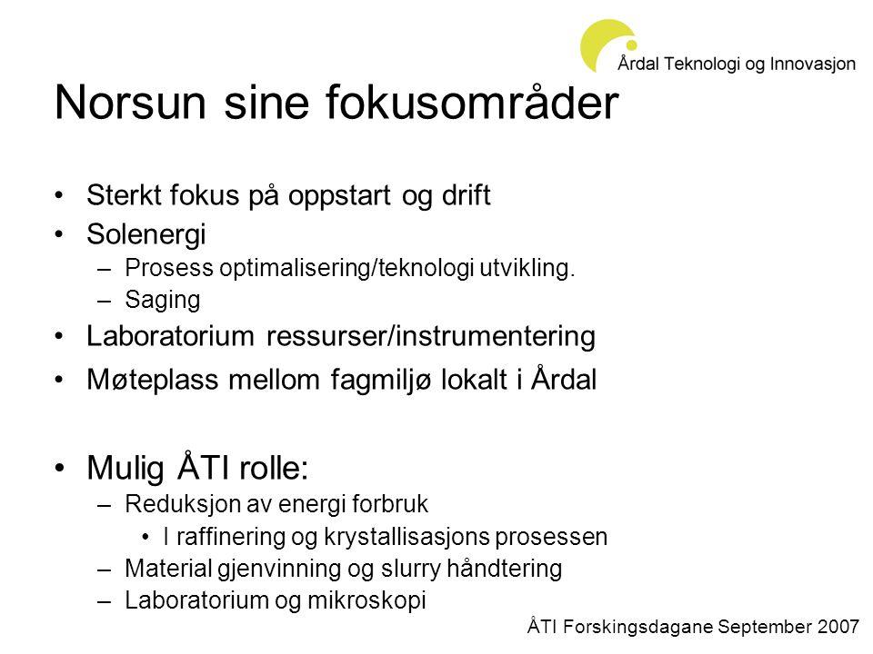 Norsun sine fokusområder •Sterkt fokus på oppstart og drift •Solenergi –Prosess optimalisering/teknologi utvikling.
