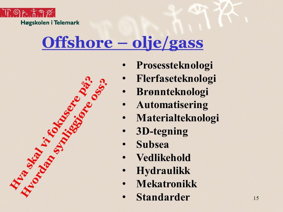 15 Offshore – olje/gass Hva skal vi fokusere på.Hvordan synliggjøre oss.