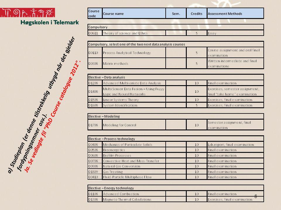 8 a)Studieplan (er denne tilstrekkelig utbygd når det gjelder fordypningsemner osv.).