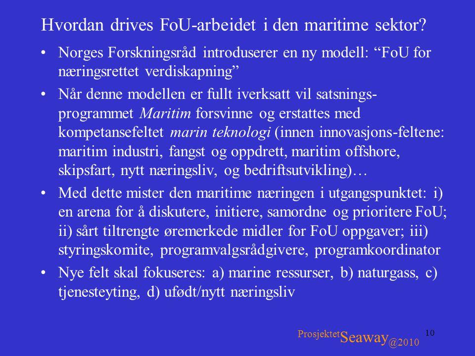 """10 Hvordan drives FoU-arbeidet i den maritime sektor? •Norges Forskningsråd introduserer en ny modell: """"FoU for næringsrettet verdiskapning"""" •Når denn"""