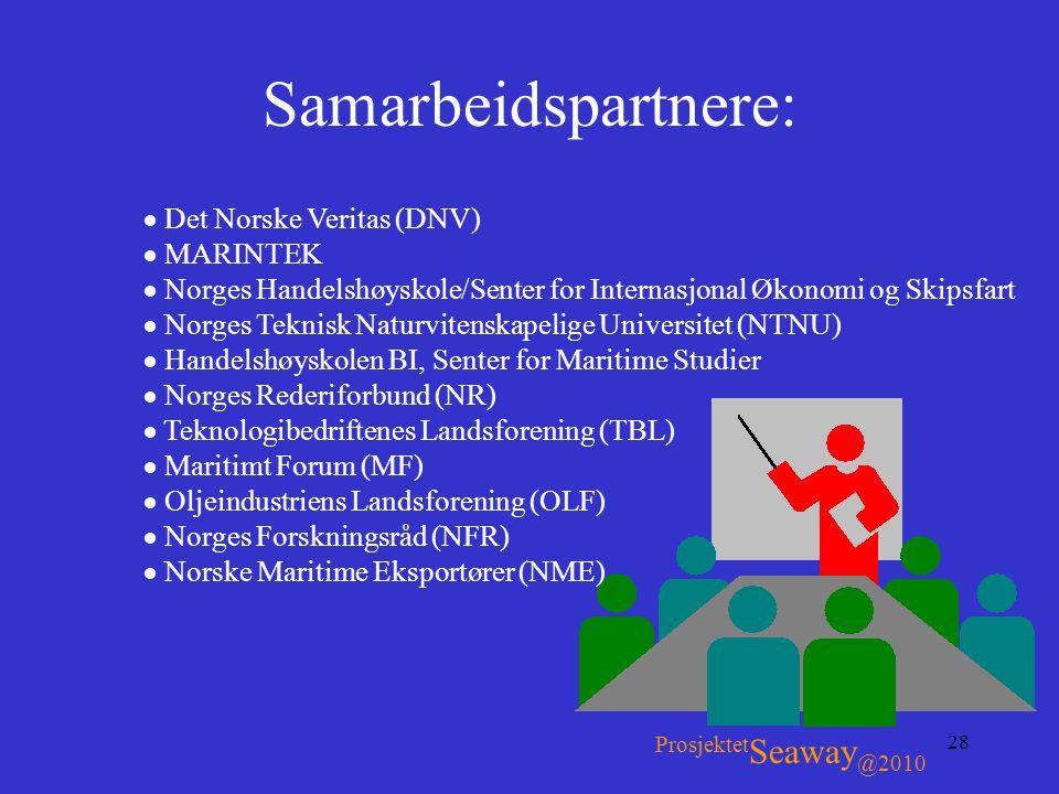 28 Samarbeidspartnere: Prosjektet Seaway @2010  Det Norske Veritas (DNV)  MARINTEK  Norges Handelshøyskole/Senter for Internasjonal Økonomi og Skip