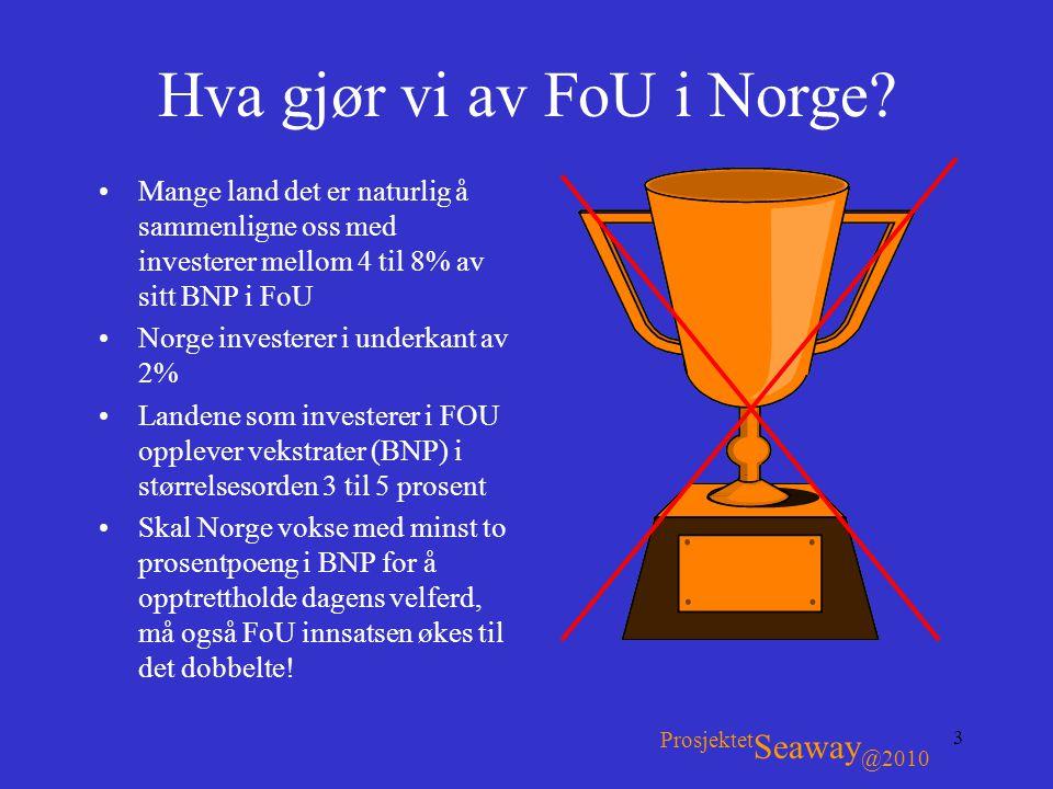 3 Hva gjør vi av FoU i Norge? •Mange land det er naturlig å sammenligne oss med investerer mellom 4 til 8% av sitt BNP i FoU •Norge investerer i under