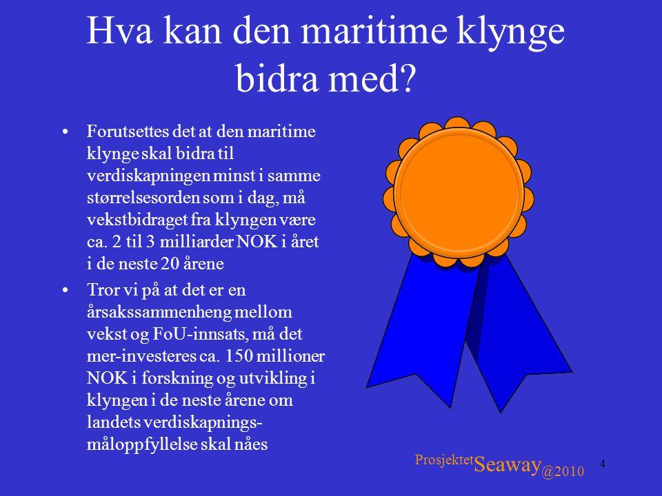 4 Hva kan den maritime klynge bidra med? •Forutsettes det at den maritime klynge skal bidra til verdiskapningen minst i samme størrelsesorden som i da