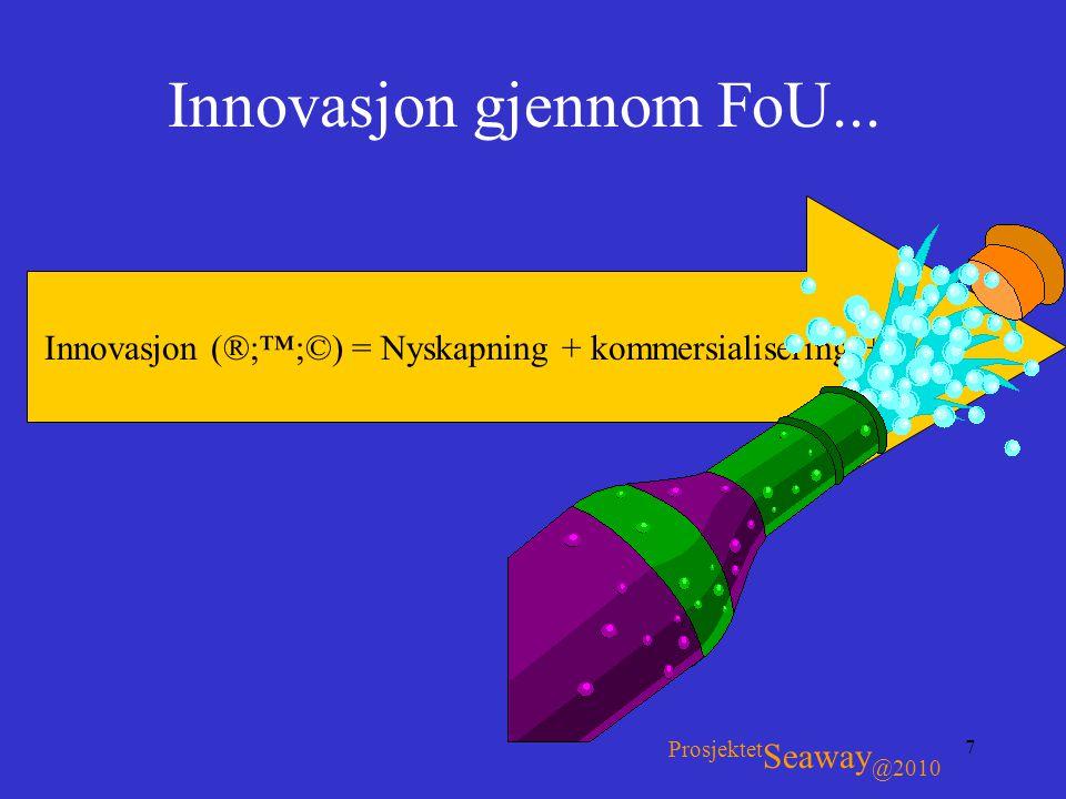 7 Innovasjon gjennom FoU... Innovasjon (®;™;©) = Nyskapning + kommersialisering +... Prosjektet Seaway @2010