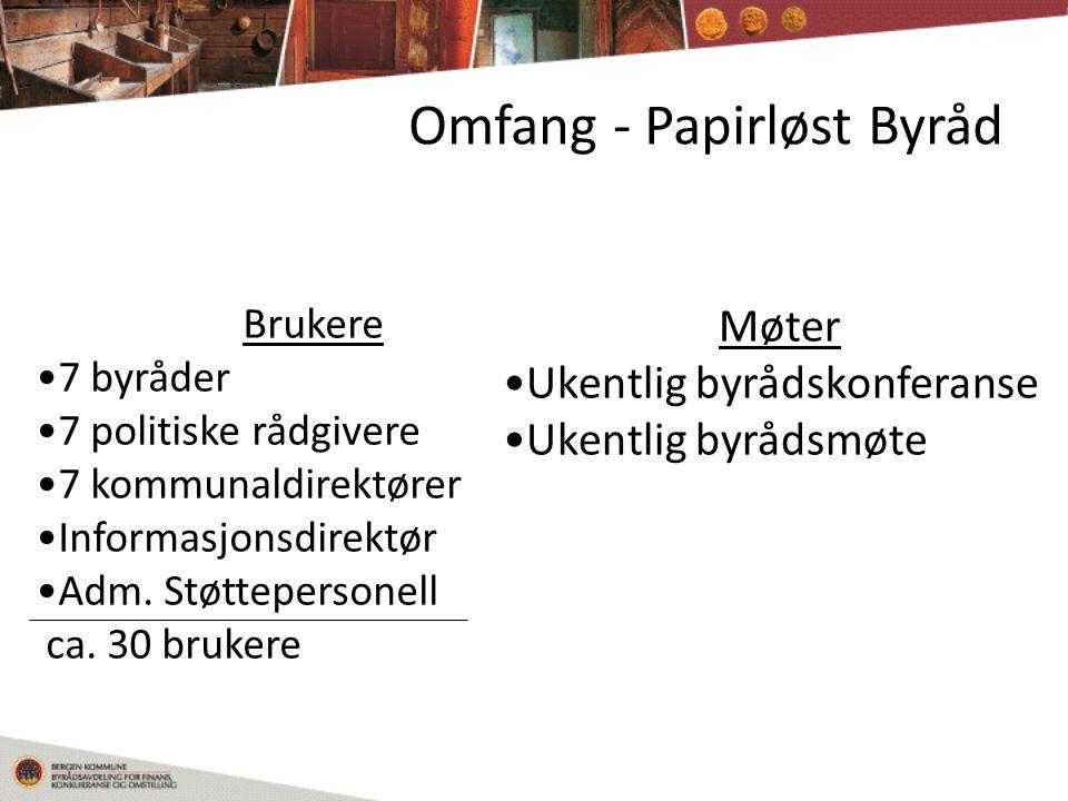 Omfang - Papirløst Byråd Brukere •7 byråder •7 politiske rådgivere •7 kommunaldirektører •Informasjonsdirektør •Adm.