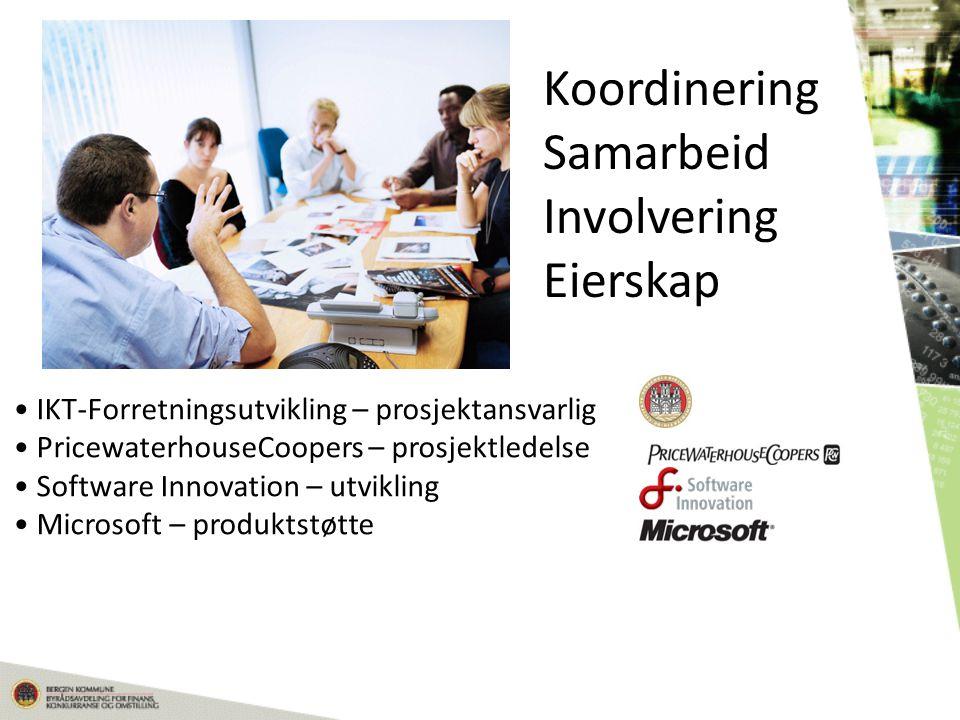 Koordinering Samarbeid Involvering Eierskap • IKT-Forretningsutvikling – prosjektansvarlig • PricewaterhouseCoopers – prosjektledelse • Software Innovation – utvikling • Microsoft – produktstøtte