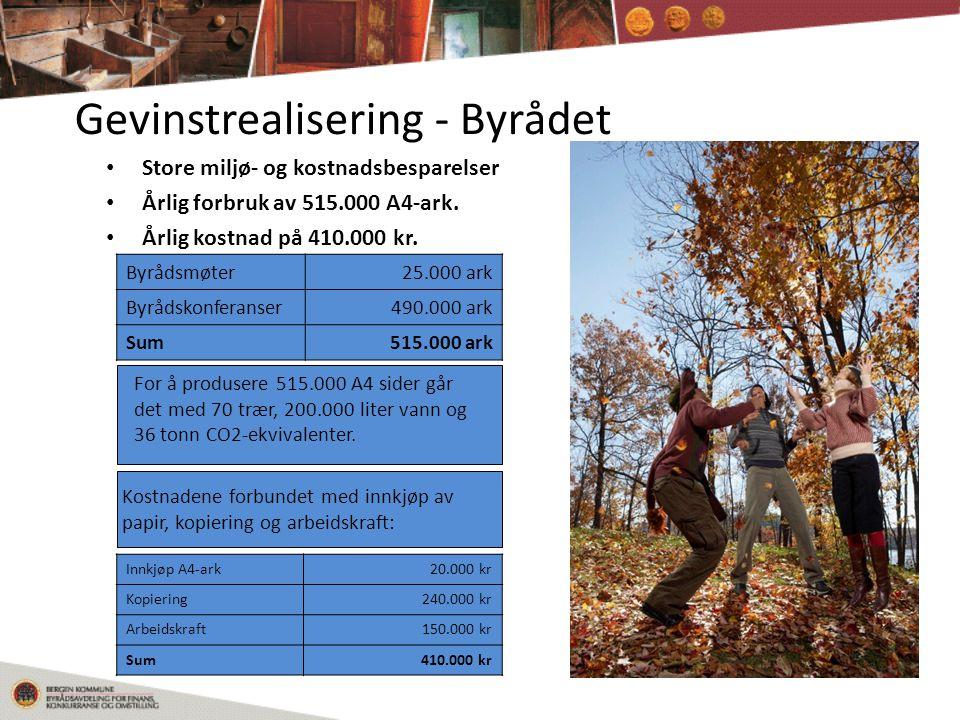 Gevinstrealisering - Byrådet • Store miljø- og kostnadsbesparelser • Årlig forbruk av 515.000 A4-ark.
