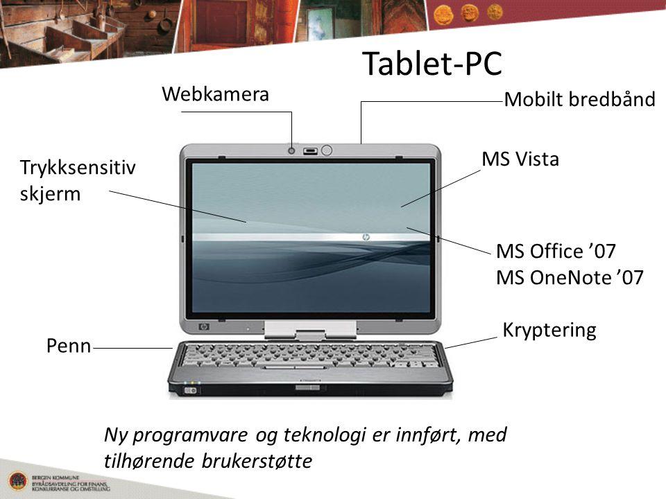 Tablet-PC Mobilt bredbånd Webkamera Penn Trykksensitiv skjerm Kryptering MS Vista MS Office '07 MS OneNote '07 Ny programvare og teknologi er innført, med tilhørende brukerstøtte