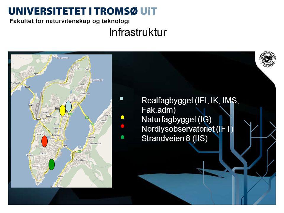 Realfagbygget (IFI, IK, IMS, Fak.adm) Naturfagbygget (IG) Nordlysobservatoriet (IFT) Strandveien 8 (IIS) Infrastruktur Fakultet for naturvitenskap og