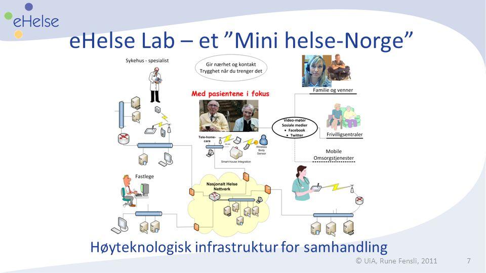 """eHelse Lab – et """"Mini helse-Norge"""" © UiA, Rune Fensli, 20117 Høyteknologisk infrastruktur for samhandling"""