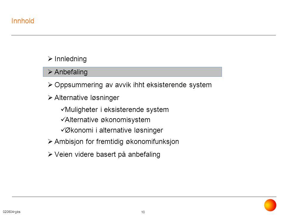 020604rgbs 10 Innhold  Innledning  Anbefaling  Oppsummering av avvik ihht eksisterende system  Alternative løsninger  Muligheter i eksisterende s