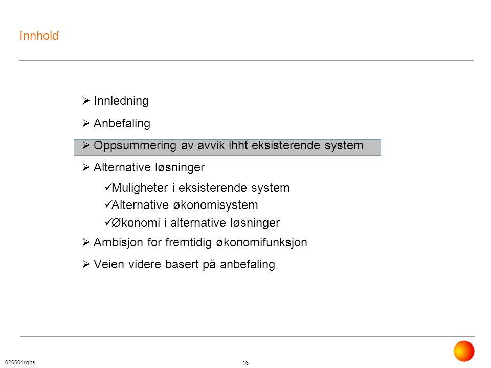 020604rgbs 16 Innhold  Innledning  Anbefaling  Oppsummering av avvik ihht eksisterende system  Alternative løsninger  Muligheter i eksisterende s