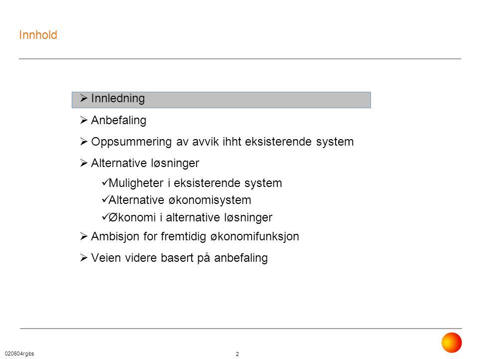020604rgbs 2 Innhold  Innledning  Anbefaling  Oppsummering av avvik ihht eksisterende system  Alternative løsninger  Muligheter i eksisterende sy