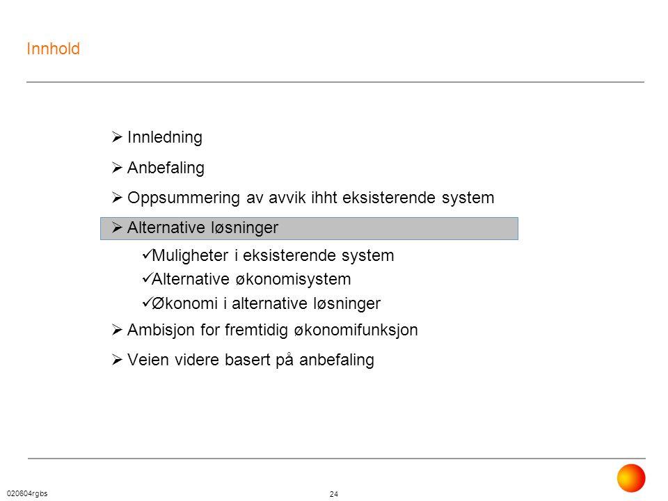 020604rgbs 24 Innhold  Innledning  Anbefaling  Oppsummering av avvik ihht eksisterende system  Alternative løsninger  Muligheter i eksisterende s