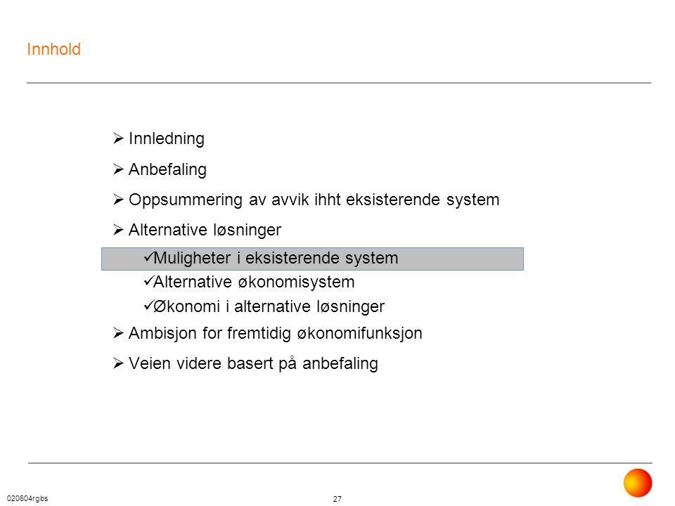 020604rgbs 27 Innhold  Innledning  Anbefaling  Oppsummering av avvik ihht eksisterende system  Alternative løsninger  Muligheter i eksisterende s