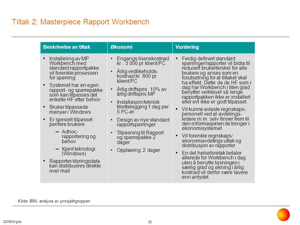 020604rgbs 30 Tiltak 2; Masterpiece Rapport Workbench Beskrivelse av tiltakØkonomiVurdering • Installering av MP Workbench med standard rapportpakke v