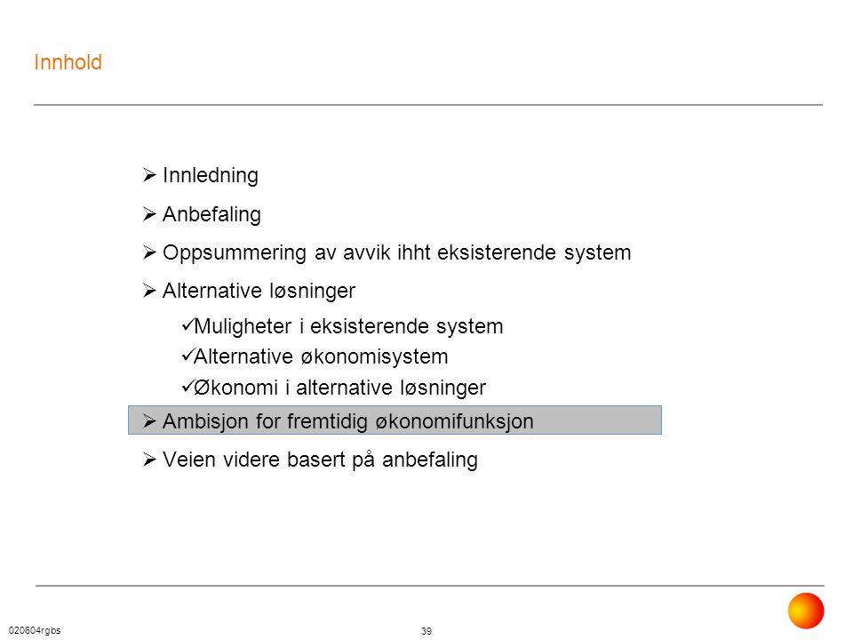 020604rgbs 39 Innhold  Innledning  Anbefaling  Oppsummering av avvik ihht eksisterende system  Alternative løsninger  Muligheter i eksisterende s