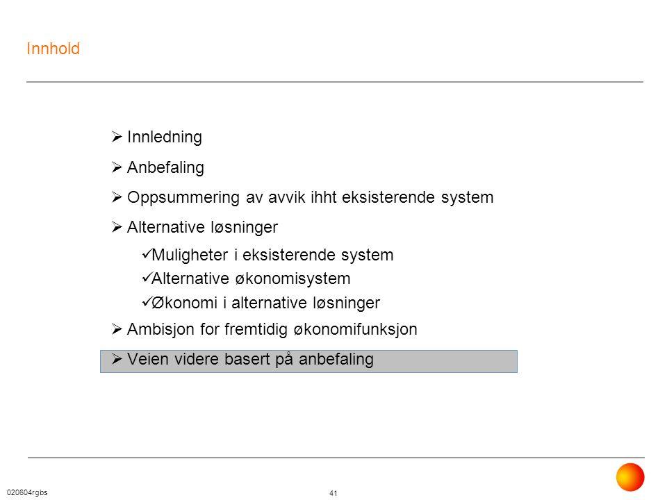 020604rgbs 41 Innhold  Innledning  Anbefaling  Oppsummering av avvik ihht eksisterende system  Alternative løsninger  Muligheter i eksisterende s
