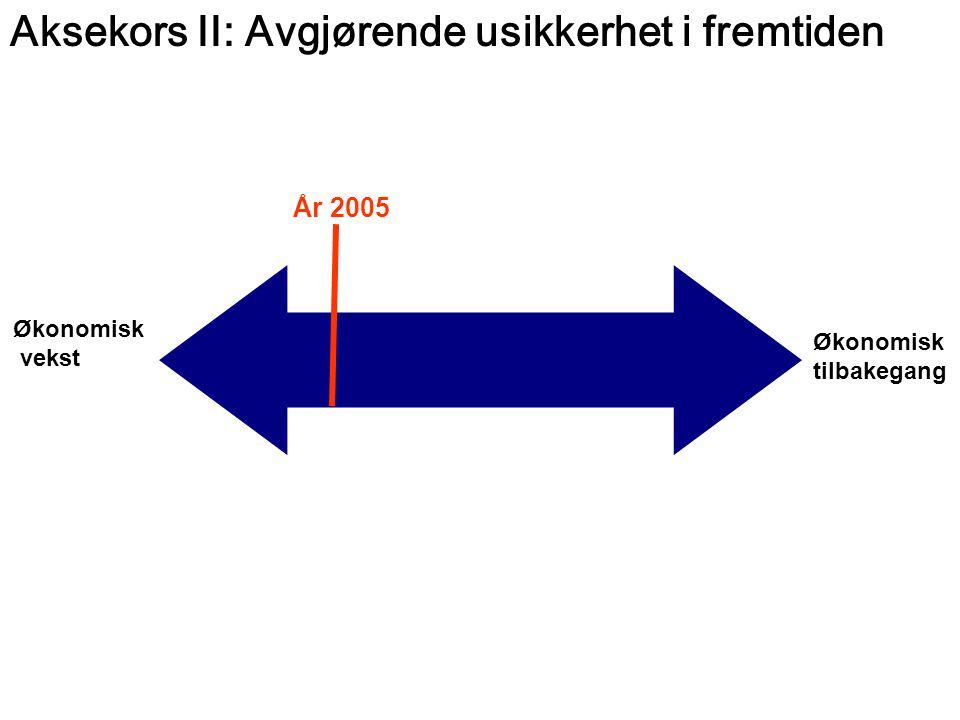 Økonomisk tilbakegang Økonomisk vekst Aksekors II: Avgjørende usikkerhet i fremtiden År 2005