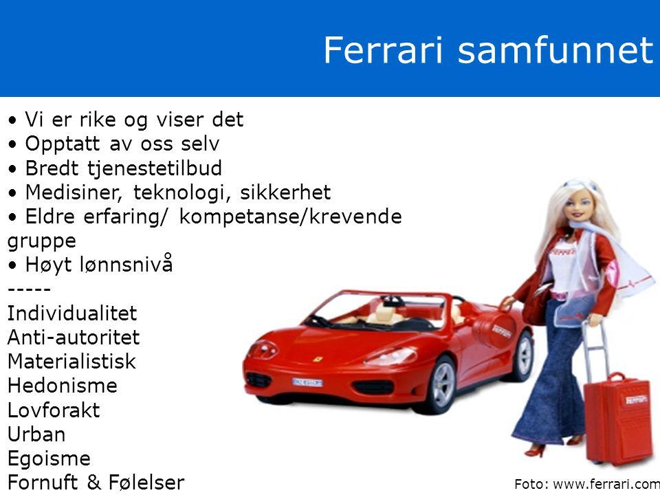 Foto: www.ferrari.com • Vi er rike og viser det • Opptatt av oss selv • Bredt tjenestetilbud • Medisiner, teknologi, sikkerhet • Eldre erfaring/ kompe