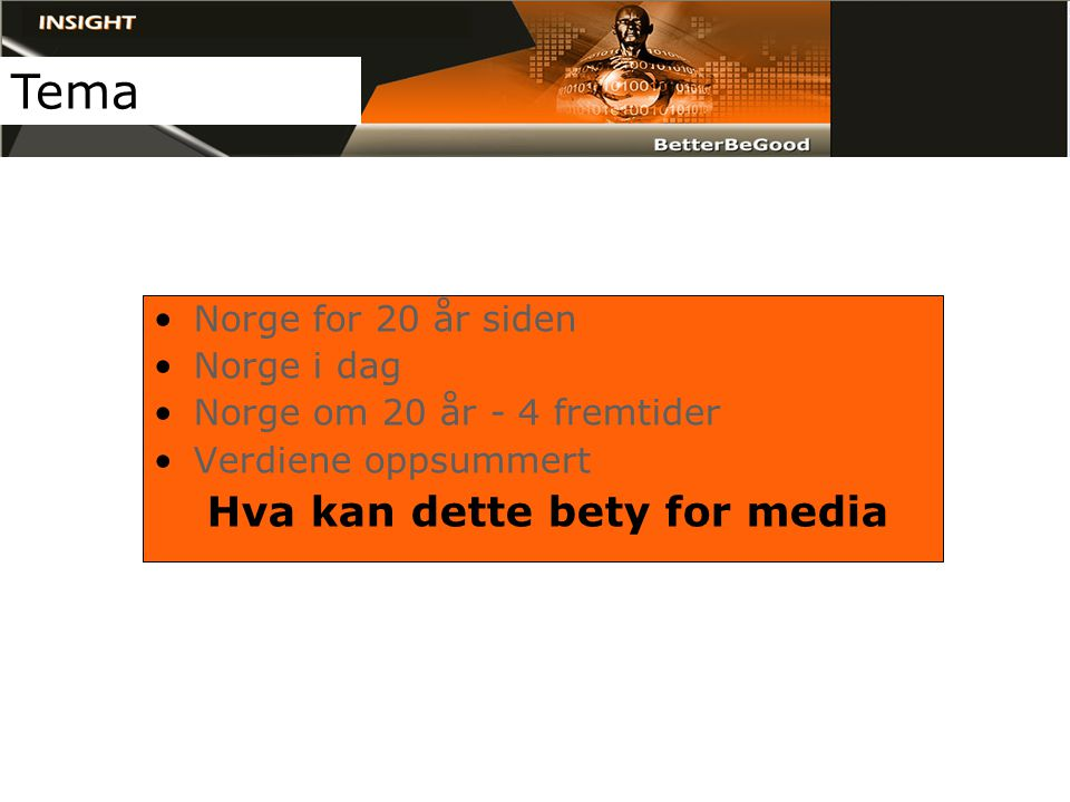 •Norge for 20 år siden •Norge i dag •Norge om 20 år - 4 fremtider •Verdiene oppsummert Hva kan dette bety for media Tema
