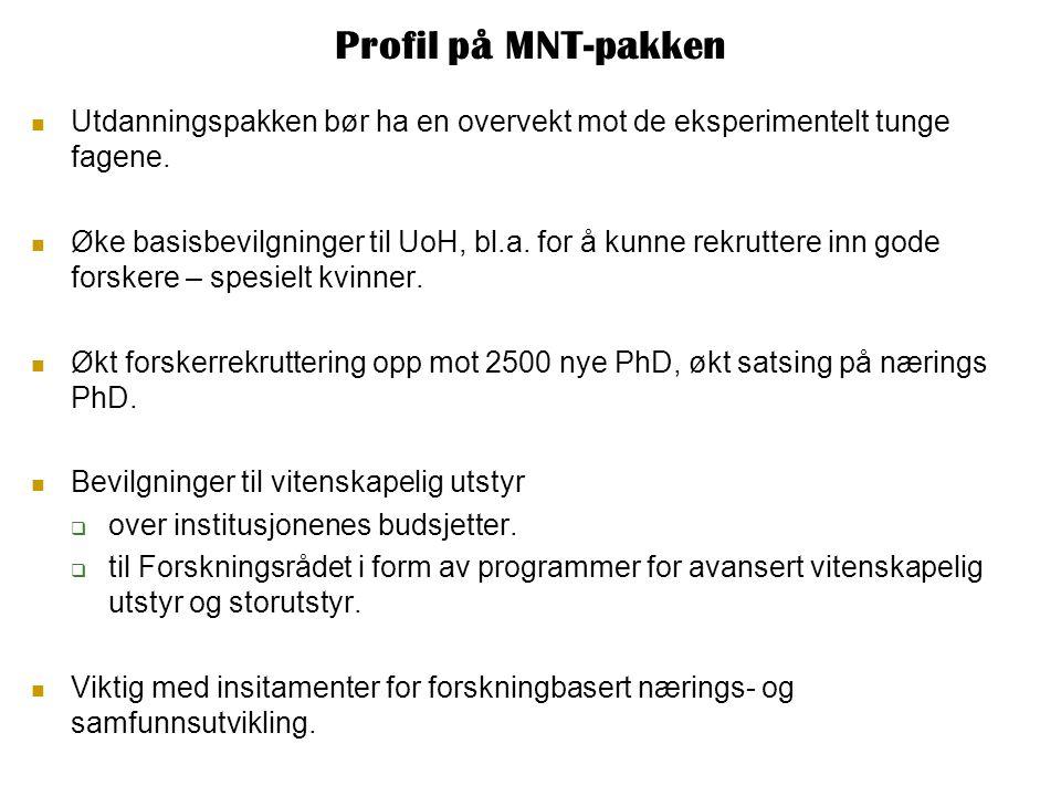 Profil på MNT-pakken  Utdanningspakken bør ha en overvekt mot de eksperimentelt tunge fagene.