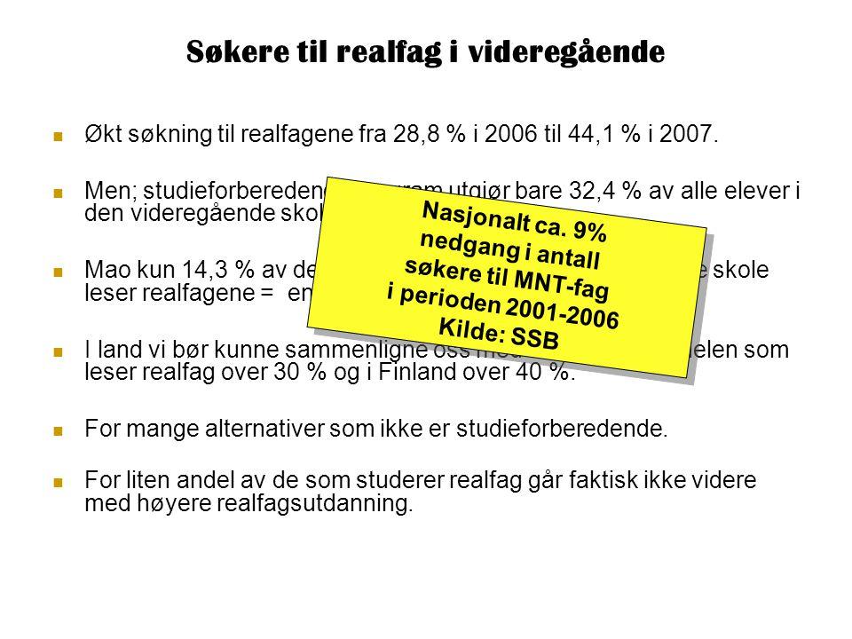 Søkere til realfag i videregående  Økt søkning til realfagene fra 28,8 % i 2006 til 44,1 % i 2007.  Men; studieforberedende program utgjør bare 32,4