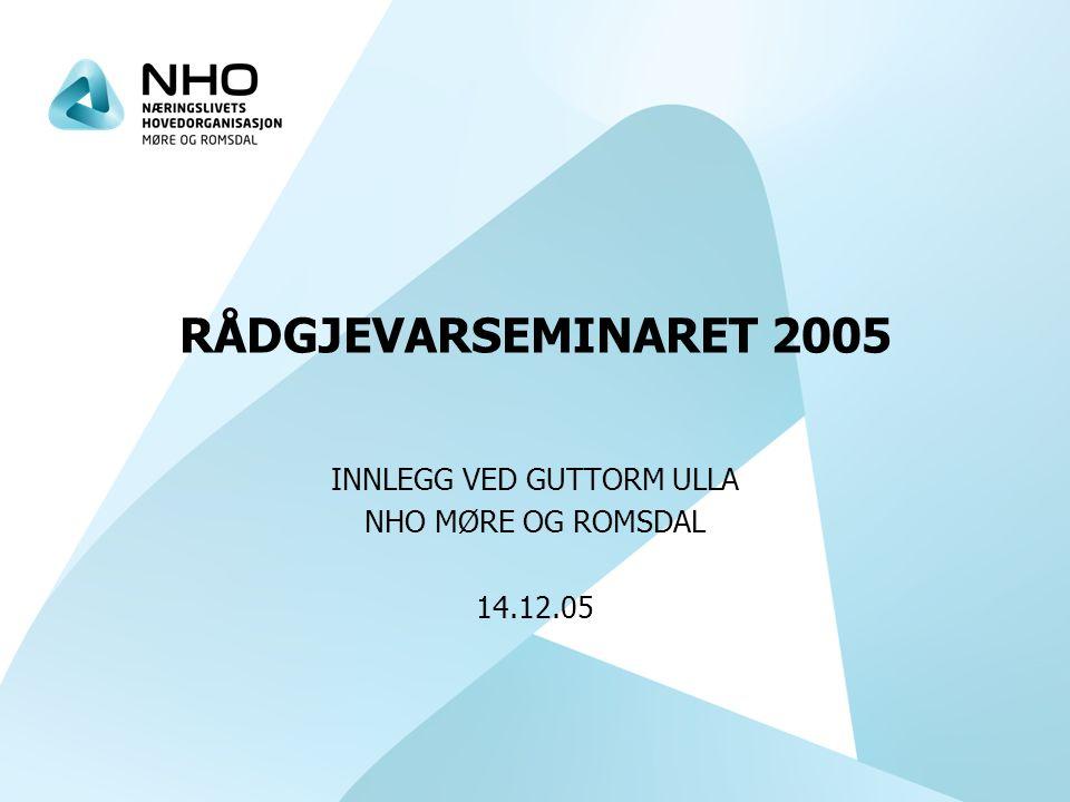RÅDGJEVARSEMINARET 2005 INNLEGG VED GUTTORM ULLA NHO MØRE OG ROMSDAL 14.12.05