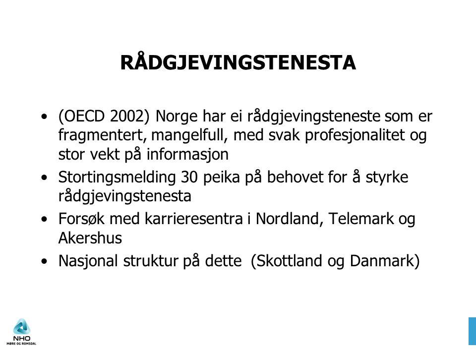RÅDGJEVINGSTENESTA •(OECD 2002) Norge har ei rådgjevingsteneste som er fragmentert, mangelfull, med svak profesjonalitet og stor vekt på informasjon •Stortingsmelding 30 peika på behovet for å styrke rådgjevingstenesta •Forsøk med karrieresentra i Nordland, Telemark og Akershus •Nasjonal struktur på dette (Skottland og Danmark)