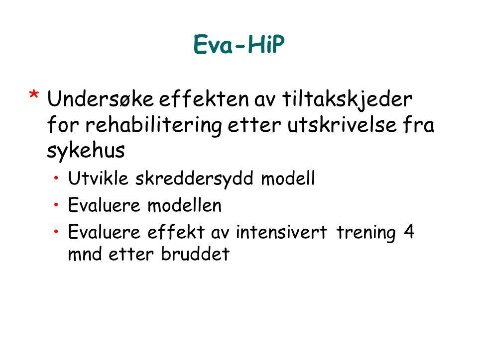 Eva-HiP *Undersøke effekten av tiltakskjeder for rehabilitering etter utskrivelse fra sykehus •Utvikle skreddersydd modell •Evaluere modellen •Evaluer