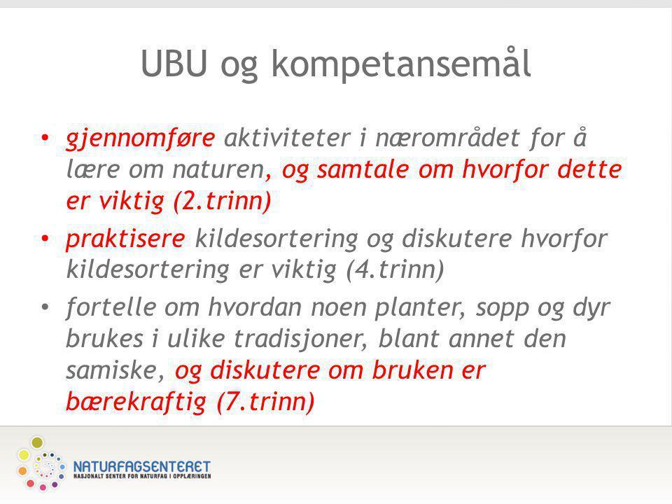 UBU og kompetansemål • gjennomføre aktiviteter i nærområdet for å lære om naturen, og samtale om hvorfor dette er viktig (2.trinn) • praktisere kildes