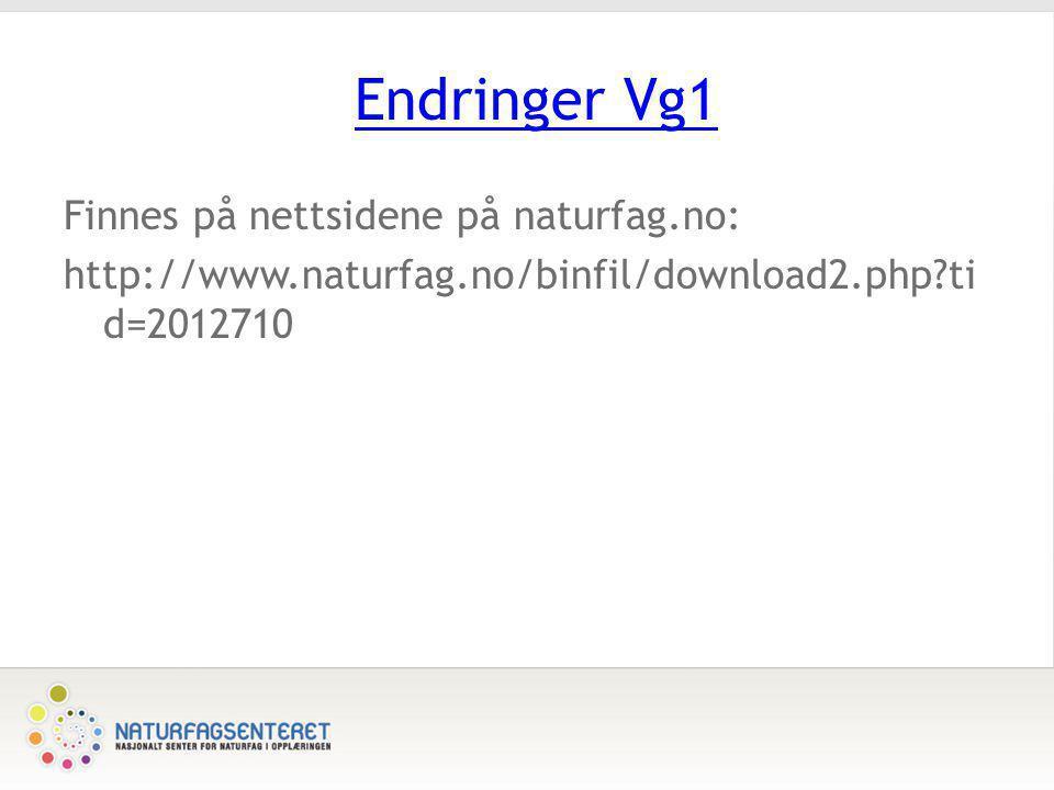 Endringer Vg1 Finnes på nettsidene på naturfag.no: http://www.naturfag.no/binfil/download2.php?ti d=2012710