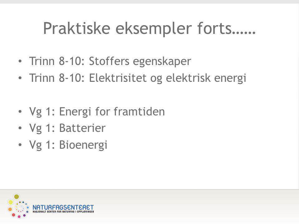Praktiske eksempler forts…… • Trinn 8-10: Stoffers egenskaper • Trinn 8-10: Elektrisitet og elektrisk energi • Vg 1: Energi for framtiden • Vg 1: Batt