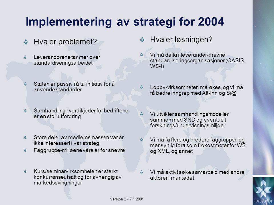 Versjon 2 - 7.1.2004 Implementering av strategi for 2004 Hva er problemet.