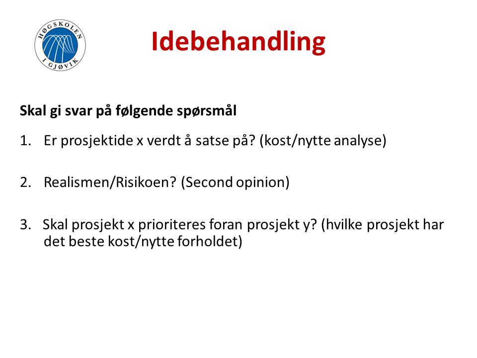 Idebehandling Skal gi svar på følgende spørsmål 1.Er prosjektide x verdt å satse på? (kost/nytte analyse) 2.Realismen/Risikoen? (Second opinion) 3. Sk