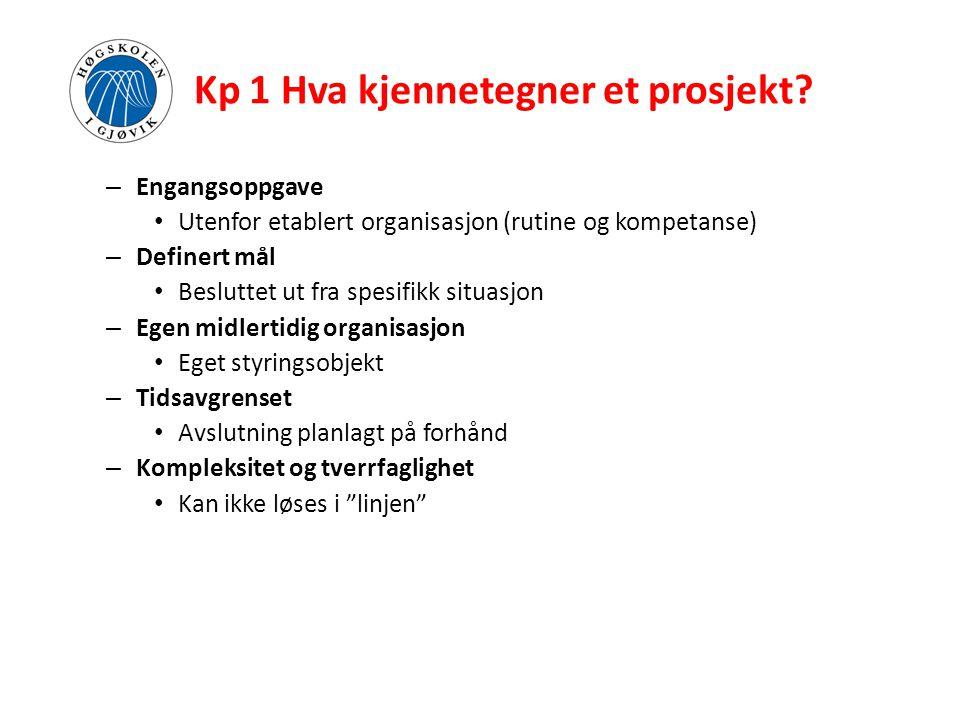 Kp 1 Hva kjennetegner et prosjekt? – Engangsoppgave • Utenfor etablert organisasjon (rutine og kompetanse) – Definert mål • Besluttet ut fra spesifikk