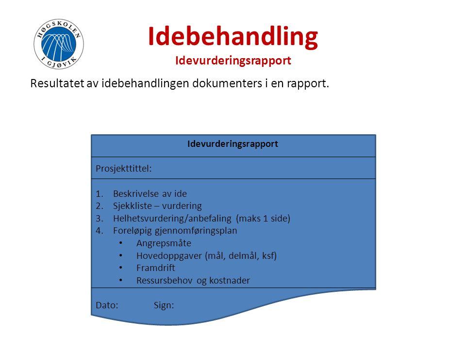 Idebehandling Idevurderingsrapport Resultatet av idebehandlingen dokumenters i en rapport. Idevurderingsrapport Prosjekttittel: 1.Beskrivelse av ide 2