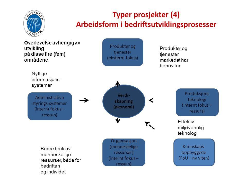 Typer prosjekter (4) Arbeidsform i bedriftsutviklingsprosesser Verdi- skapning (økonomi) Produkter og tjenester (eksternt fokus) Organisasjon (mennesk