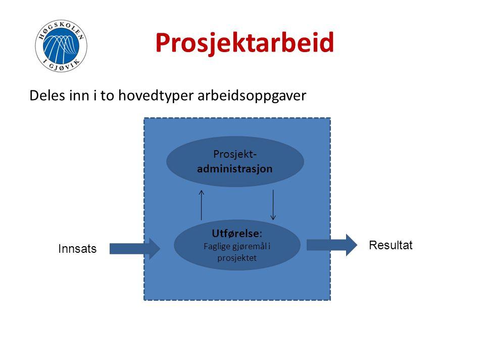 Prosjektmodell • Beskrivelse av hvordan ulike prosjekter skal gjennomføres (mal/prosjektmodell).