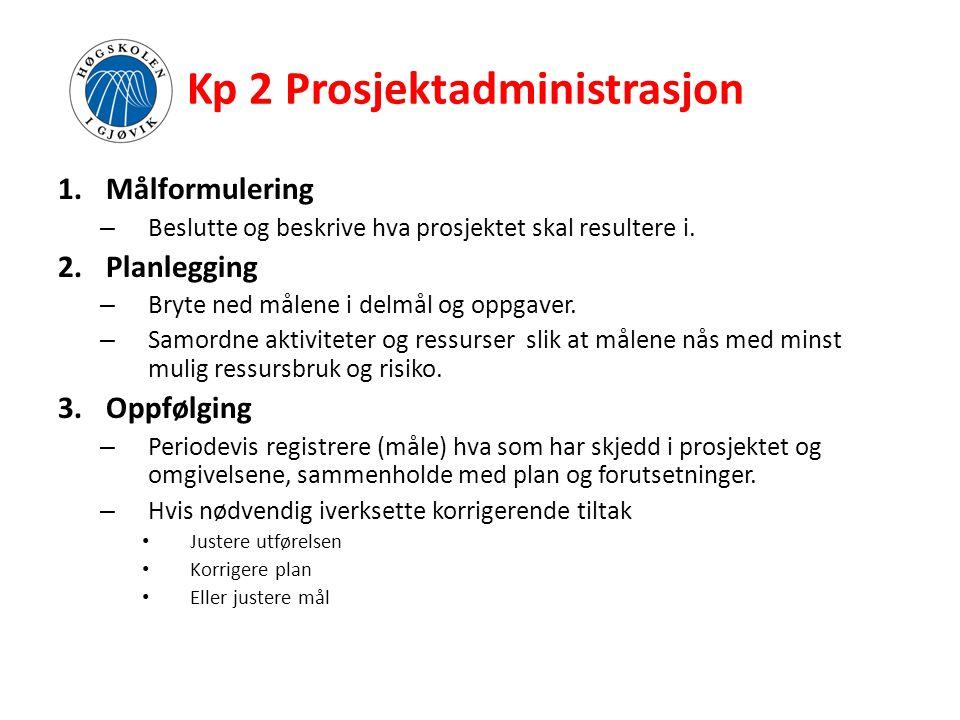 Kp 2 Prosjektadministrasjon 1.Målformulering – Beslutte og beskrive hva prosjektet skal resultere i. 2.Planlegging – Bryte ned målene i delmål og oppg