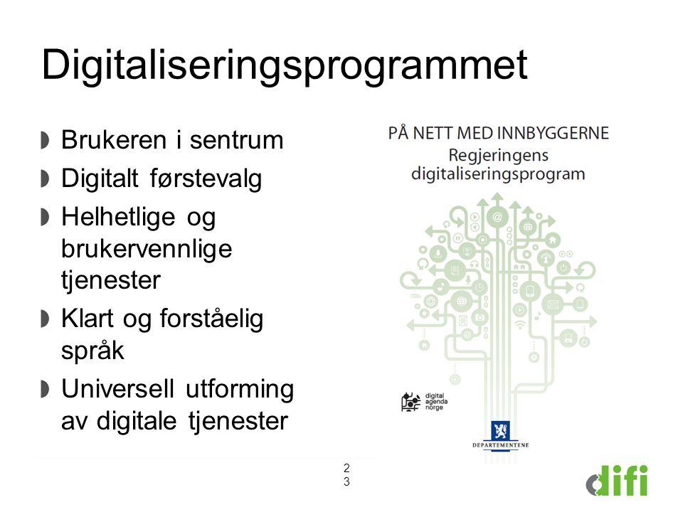 Digitaliseringsprogrammet Brukeren i sentrum Digitalt førstevalg Helhetlige og brukervennlige tjenester Klart og forståelig språk Universell utforming av digitale tjenester 23