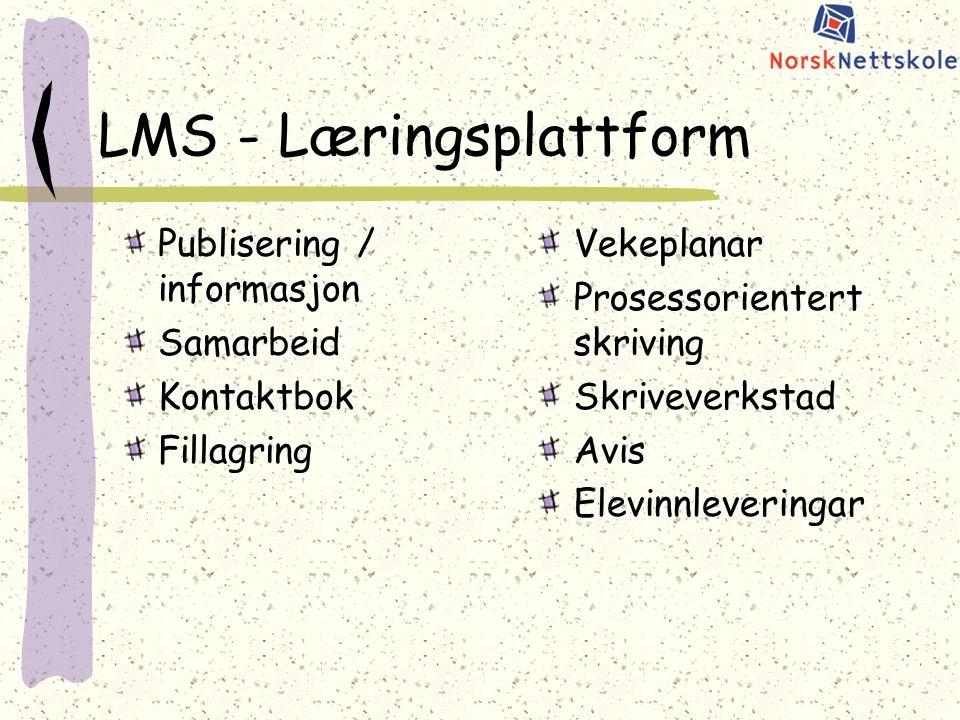 LMS - Læringsplattform Publisering / informasjon Samarbeid Kontaktbok Fillagring Vekeplanar Prosessorientert skriving Skriveverkstad Avis Elevinnleveringar