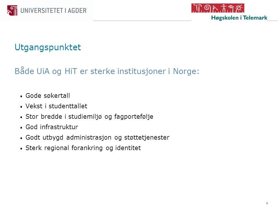 6 Utgangspunktet Både UiA og HiT er sterke institusjoner i Norge: • Gode søkertall • Vekst i studenttallet • Stor bredde i studiemiljø og fagportefølje • God infrastruktur • Godt utbygd administrasjon og støttetjenester • Sterk regional forankring og identitet