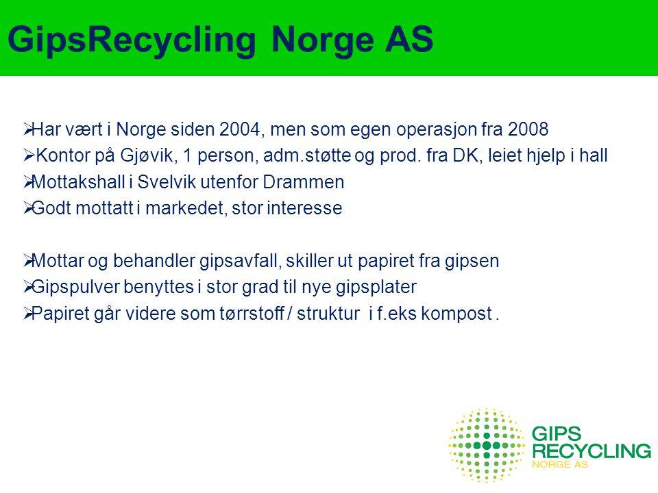 GipsRecycling Norge AS  Har vært i Norge siden 2004, men som egen operasjon fra 2008  Kontor på Gjøvik, 1 person, adm.støtte og prod. fra DK, leiet