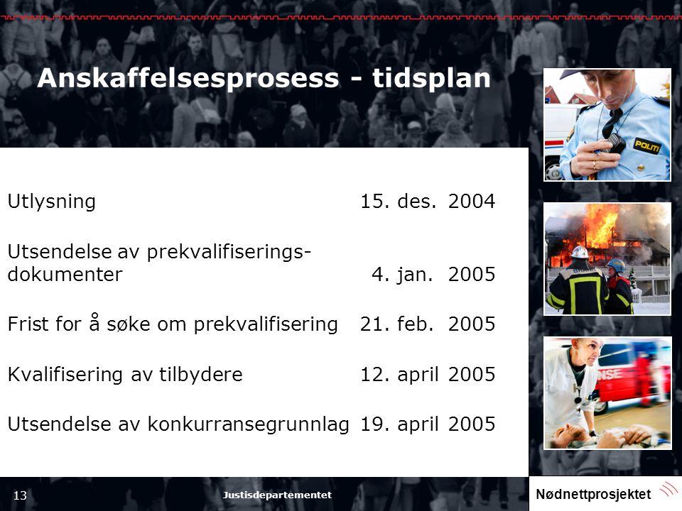 Nødnettprosjektet 13 Justisdepartementet Anskaffelsesprosess - tidsplan Utlysning15. des.2004 Utsendelse av prekvalifiserings- dokumenter4. jan.2005 F