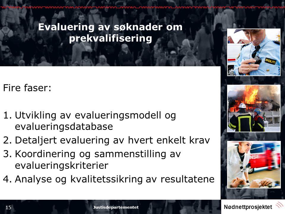 Nødnettprosjektet 15 Justisdepartementet Evaluering av søknader om prekvalifisering Fire faser: 1.Utvikling av evalueringsmodell og evalueringsdatabas